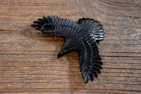 Hand-Carved Jet Raven/Crow Pendant #3