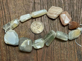 Multi-Moonstone Hand-Cut Faceted Nugget (Small to Large) Beads