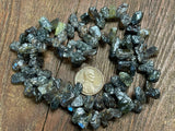 Electroplated Tourmaline Large Hand-Cut Top-Drilled Rough Chip Beads
