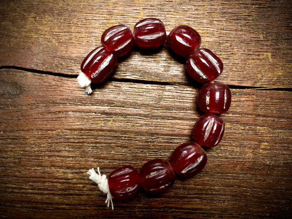 Melon Glass Beads—Ruby
