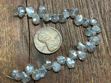 Luster-Coated Labradorite 6x5mm Hand-Cut Top-Drilled Faceted Puffed Teardrop Beads