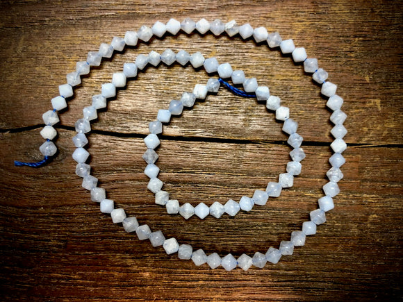 Blue Chalcedony 4mm Bicone Beads