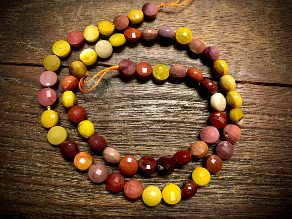Mookaite 6x7mm Faceted Coin Beads