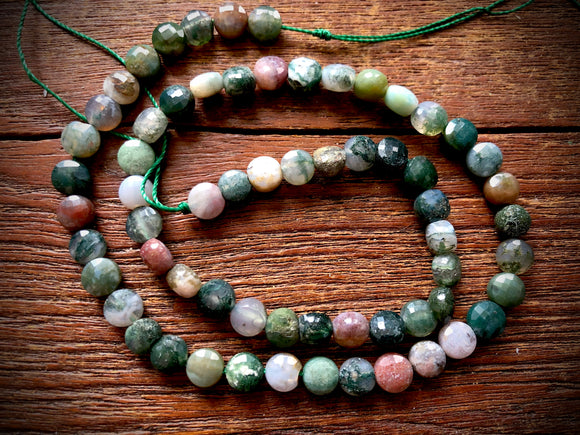 Fancy Jasper 6x7mm Faceted Coin Beads