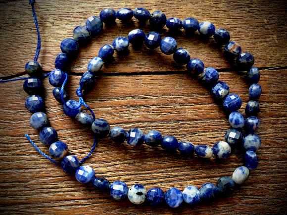 Sodalite 7mm Faceted Coin Beads