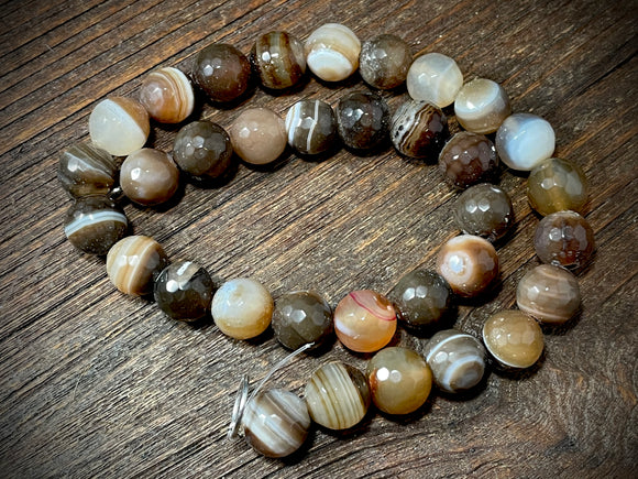 Botswana Agate 12mm Faceted Round Beads