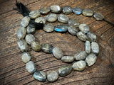 Labradorite 9mm x 7mm Pebble Beads