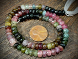 Watermelon Tourmaline 4mm x 6mm Faceted Rondelle Beads