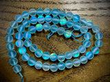 Mermaid Glass (Manmade Moonstone) 6mm Round Beads