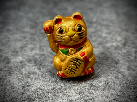 Peruvian Ceramic Bead—Lucky Cat Gold