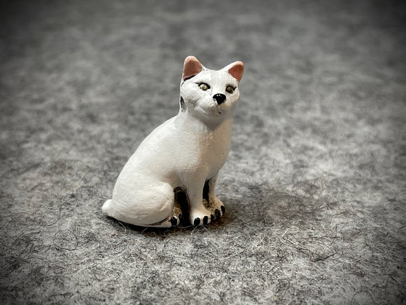 Peruvian Ceramic Bead—Sitting White Cat