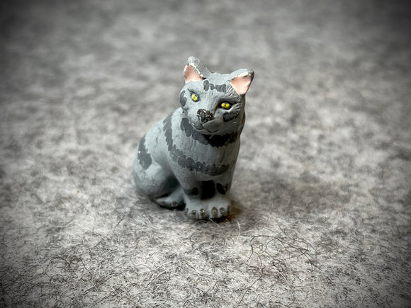 Peruvian Ceramic Bead—Sitting Grey Cat