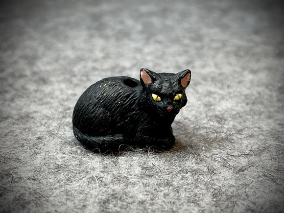 Peruvian Ceramic Bead—Lying Black Cat