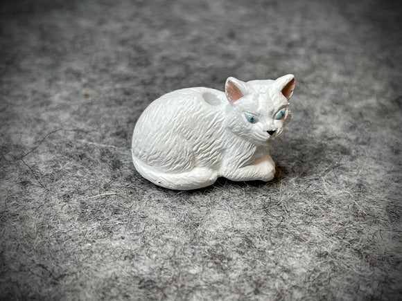 Peruvian Ceramic Bead—Lying White Cat