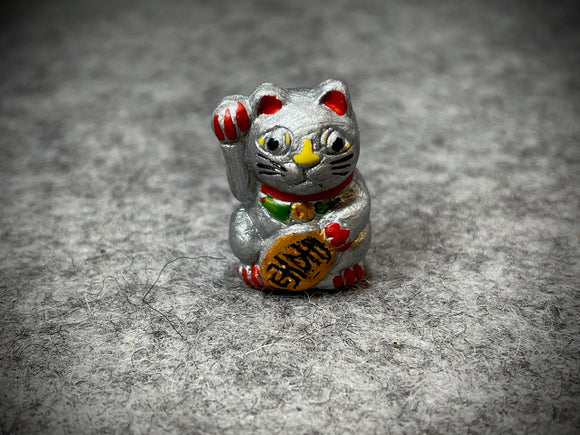Peruvian Ceramic Bead—Lucky Cat Silver