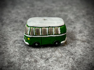 Peruvian Ceramic Bead—Green Hippie Bus
