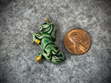 Peruvian Ceramic Bead—Green Unicorn