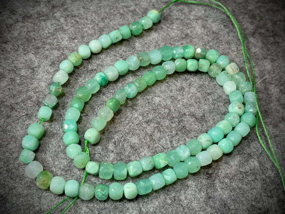 Chrysoprase 4mm Faceted Cube Beads