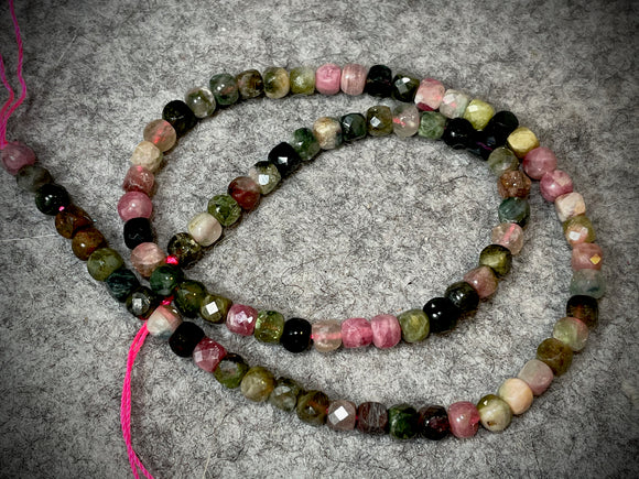 Tourmaline 4mm Faceted Cube Beads