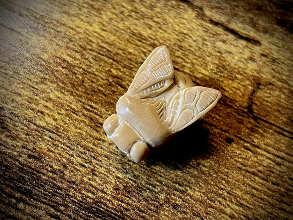 Hand-Carved Vegan Ivory (Palm Nut) Bee Pendant/Bead #1