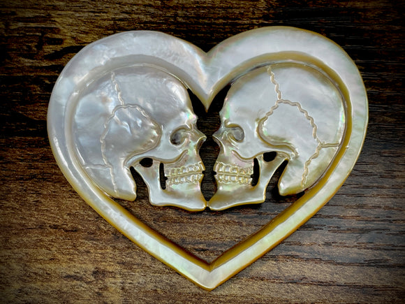 Hand-Carved Mother of Pearl/Shell Skulls in Heart Pendant #2