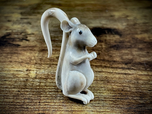 Hand-Carved Bone Mouse Sculpture #2