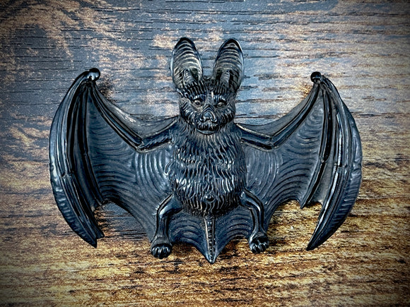 Hand-Carved Jet Bat Pendant #2