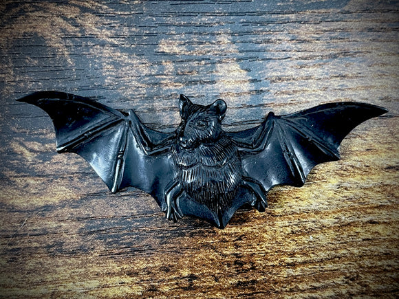 Hand-Carved Jet Bat Pendant #3