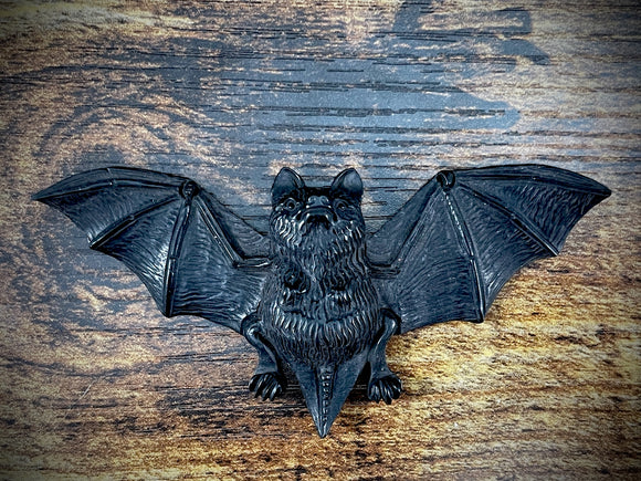 Hand-Carved Jet Bat Pendant #4
