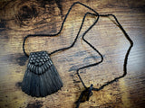 Hand-Carved Wooden Crow Tail Pendant/Necklace