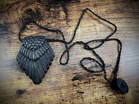 Hand-Carved Wooden Raven Tail Pendant/Necklace