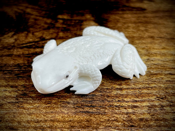 Hand-Carved Bone Toad Small Sculpture