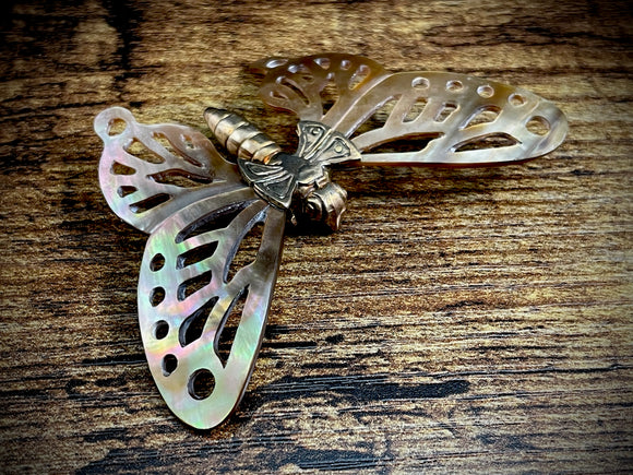 Butterfly with Hand-Carved Mother of Pearl/Shell Wings