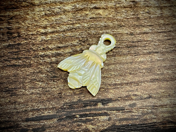 Hand-Carved Mother of Pearl/Shell Bee Charm #4