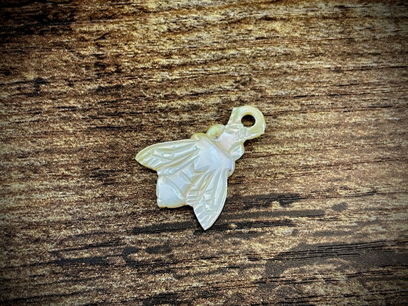 Hand-Carved Mother of Pearl/Shell Bee Charm #12