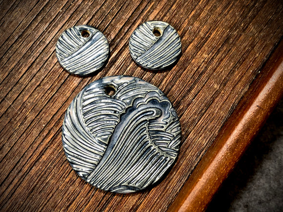 Marsha Neal Studio Charm and Pendant Set—Wave—Denim