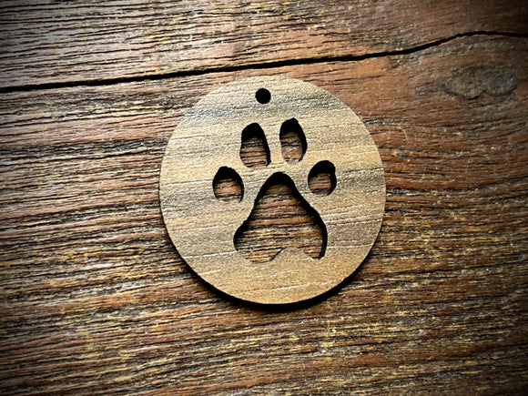 Wooden Pendant—Paw Print Cut-Out - 3812