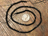 Black Spinel 3mm Diamond-Cut Faceted Round Beads