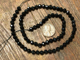 Black Spinel 5mm Diamond-Cut Faceted Round Beads