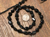 Black Spinel Faceted Simple Cut Nugget Beads