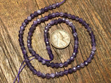 Dogtooth Amethyst 4mm Diamond Cut Faceted Round Beads