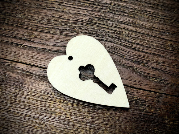 Wooden Pendant—Heart & Key Cut-Out - 4360