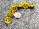Yellow Opal Wild Rose with Gold Wash Pressed Czech Glass Beads