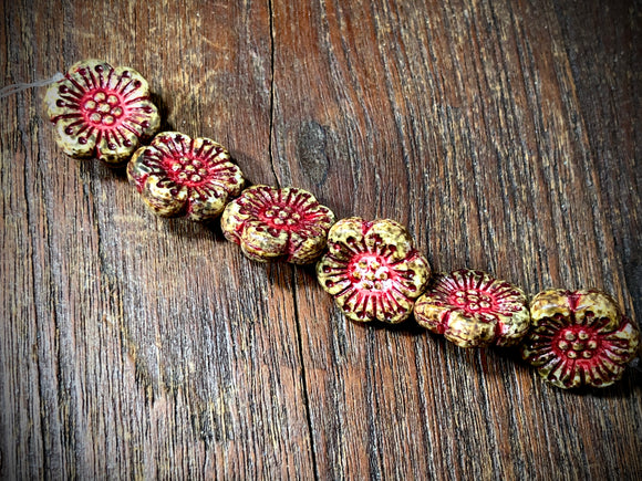 Opaque Wooden Hedge Rose with Fuchsia Wash Pressed Czech Glass Beads