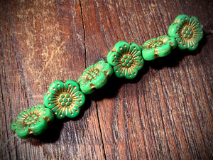 Opaque Shamrock Green Wild Rose with Gold Wash Pressed Czech Glass Beads