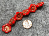 Opaque True Red Wild Rose with Gold Wash Pressed Czech Glass Flower Beads