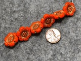 Opaque Persimmon Wild Rose with Gold Wash Pressed Czech Glass Beads