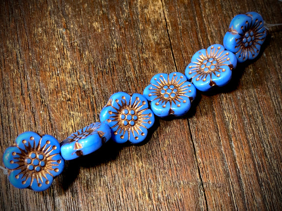 Opaque Periwinkle Wild Rose with Bronze Wash Pressed Czech Glass Beads