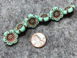 Opaque Jadeite Wild Rose with Bronze Wash Pressed Czech Glass Beads