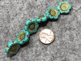 Opaque Turquoise Wild Rose with Gold Wash Pressed Czech Glass Beads